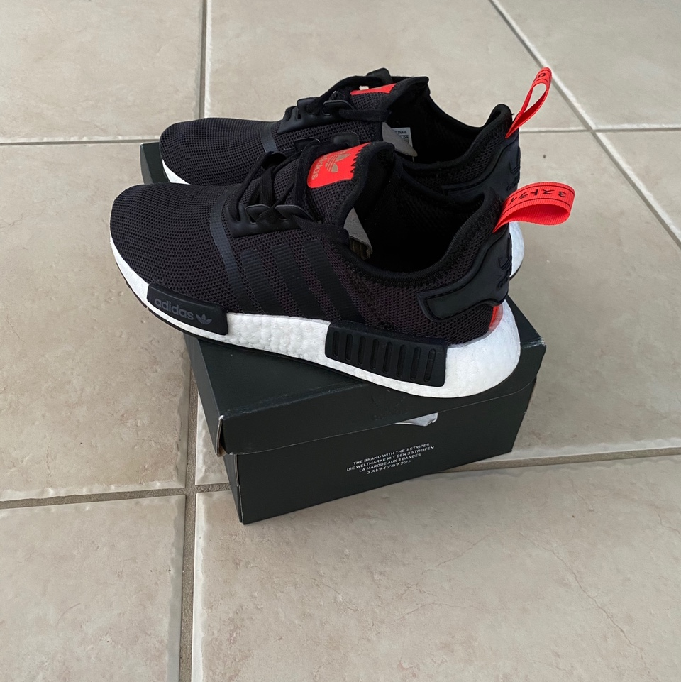 New Adidas Nmd R1 Black Red White Worn Once And Depop