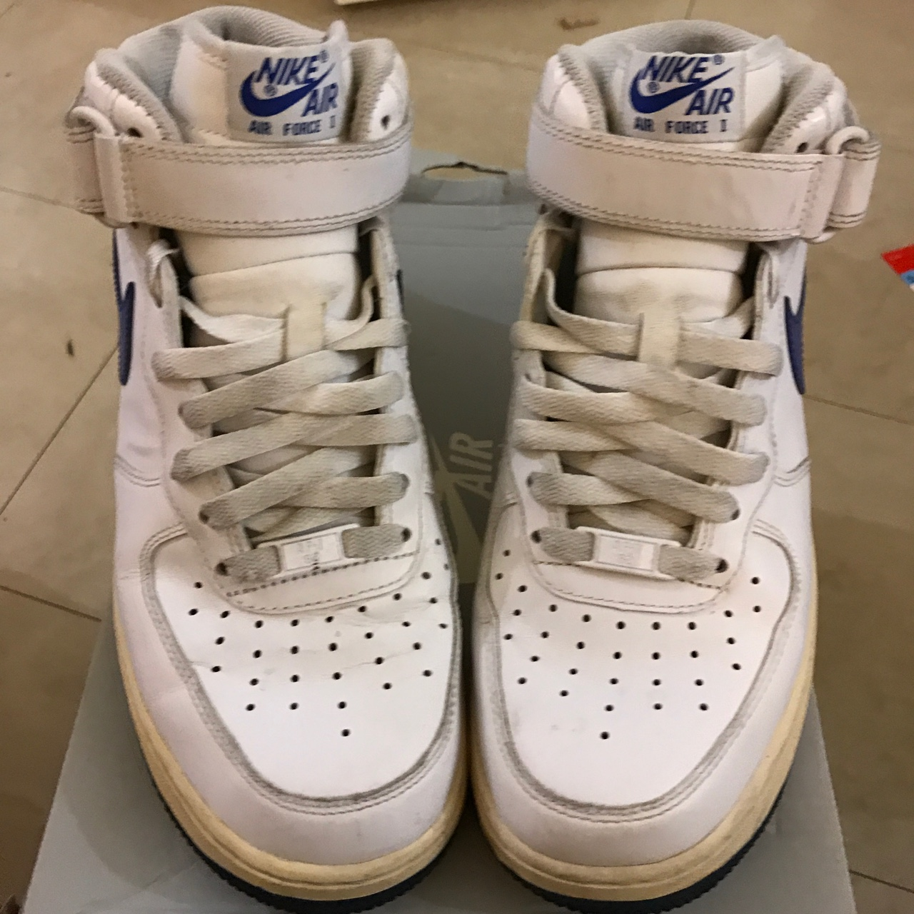 Nike Air Force 1 mid uk 7 us 8, white with the blue Depop