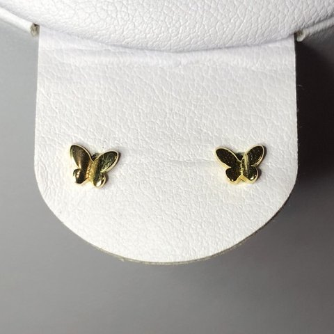 c180793a7 Tiny Gold Butterfly Stud Earrings Gold Plated 925 Sterling - Depop
