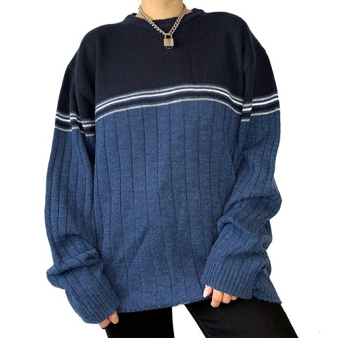 8a28acf909a195 Blue & navy blue sweater with white stripes across the chest - Depop