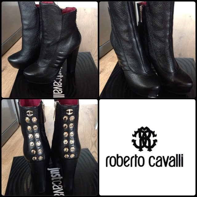 d053ae38cb Roberto cavalli leather boots with gold stud accents  boots - Depop