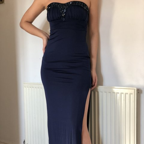 8567d51910a0 @_akh. 12 days ago. Bristol, United Kingdom. Lipsy size 6 midnight blue  navy prom dress. Only worn once. Slit leg ...