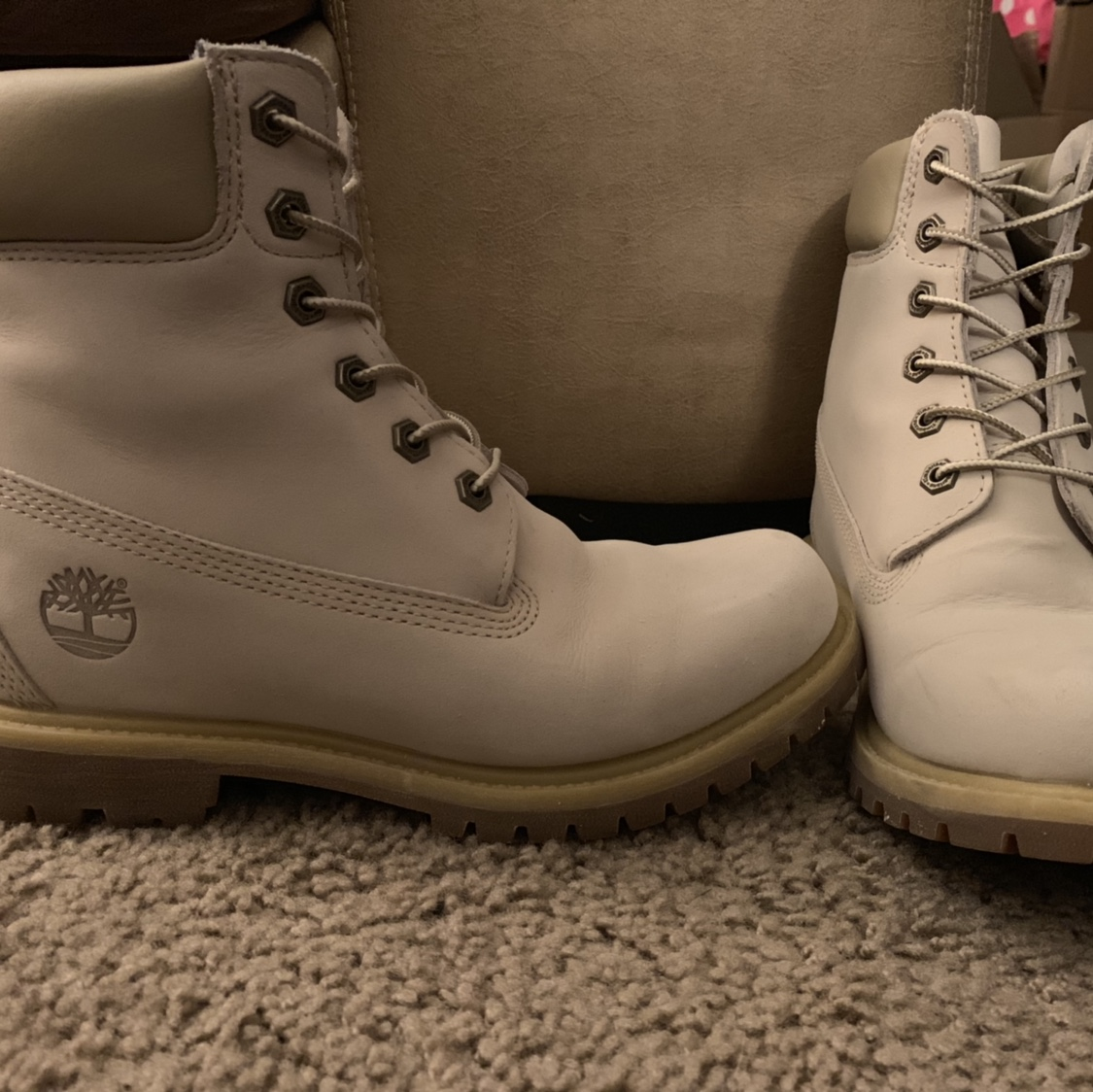 Off White Cream colored Timberland boots. Women's Depop