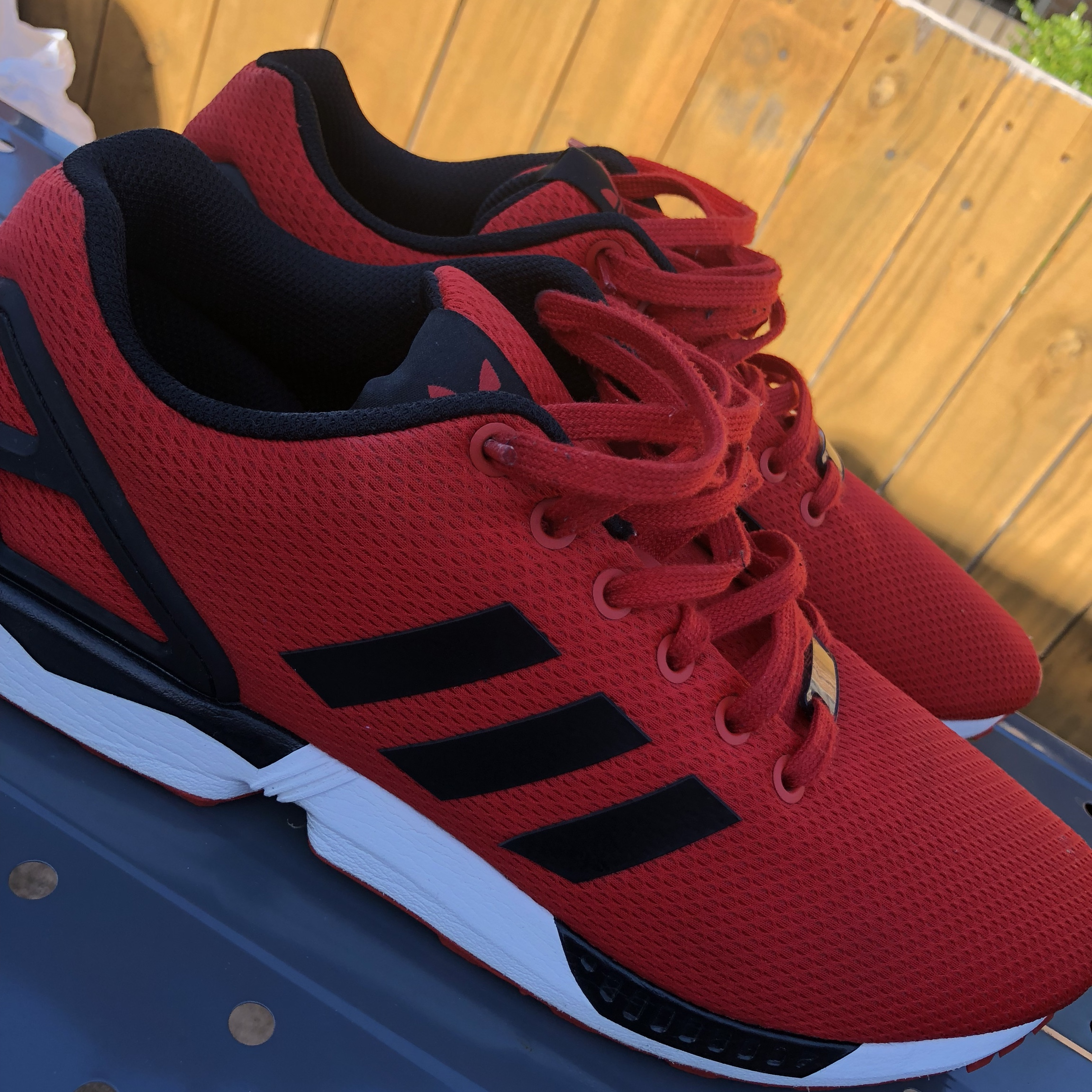 100% authentic f66d7 1bd0b SOLD‼️‼️ Adidas Torsion, red with black Adidas lines ...