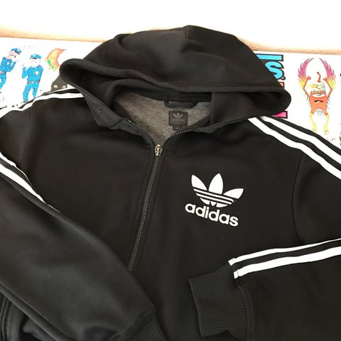 Adidas Originals Zip Up Hoodie Black Size Small Logo A Depop