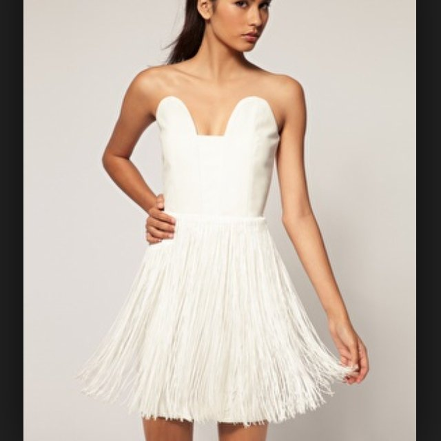 325a23843db23 White Aqua mini flapper dress with detachable tassel belt. - Depop