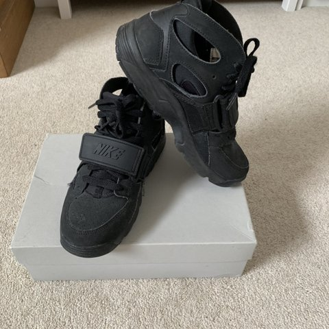 2627be3cc9d5a All black Nike Huaraches with velcro strap and laces. Size 4 - Depop