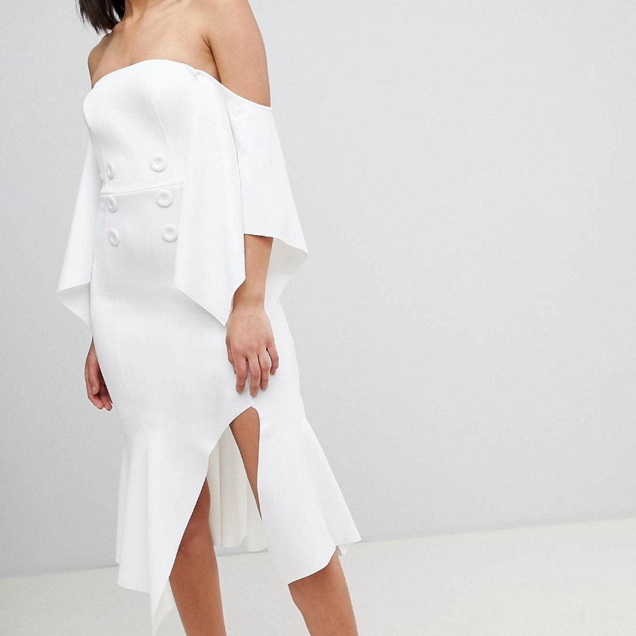 2a82d7a999c4 @lissyz. 2 months ago. Worksop, United Kingdom. ASOS design bandeau kimono  sleeve midi dress white with tuxedo button detail ...