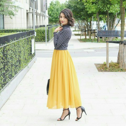 158c2d6da8 @ibreatheshoes. 2 years ago. London, United Kingdom. Mustard yellow chiffon  pleated maxi skirt.