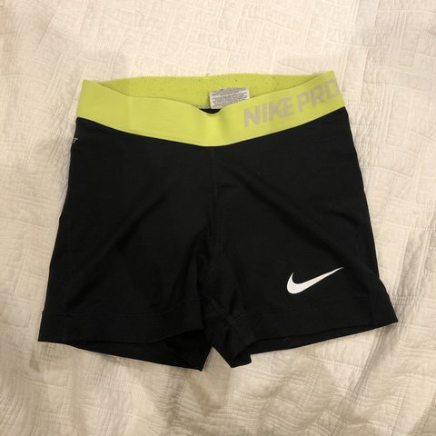 a0a5acf53 Nike Pro Dri-Fit spandex shorts with a neon waist-band. are - Depop