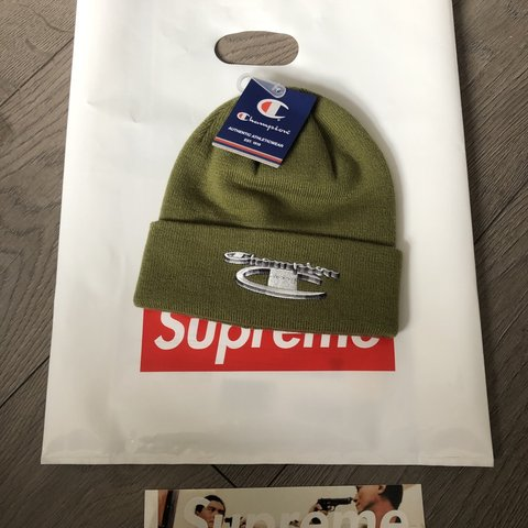 da41f5204b7ba Supreme champion 3D metallic beanie Olive F W 18 Condition - Depop