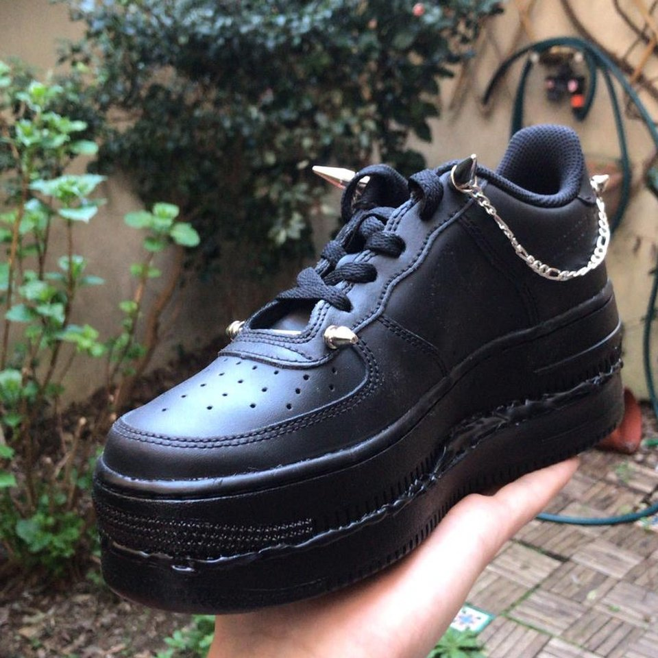 Air force 1 Black Custom with double