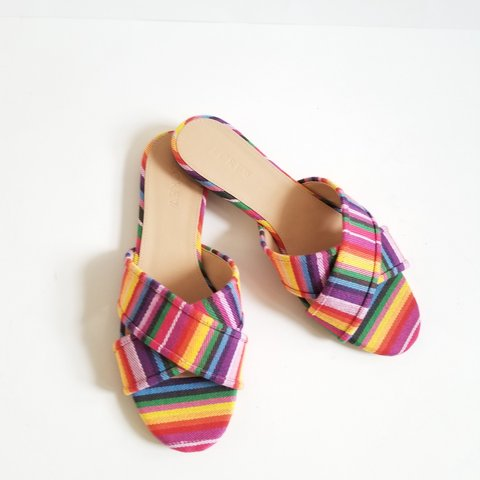 88f2d0cae8ba Brand new J. Crew size 6.5 Rainbow Multicolor Slide Sandals. - Depop