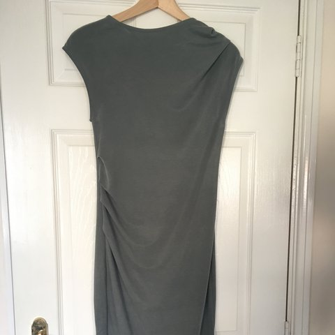 75834cba240 Topshop soft feel, khaki fitted dress. Gathered waist and - Depop