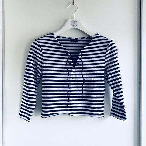 cbcc9b64485b3 Blue and white lace up striped crop top from Topshop