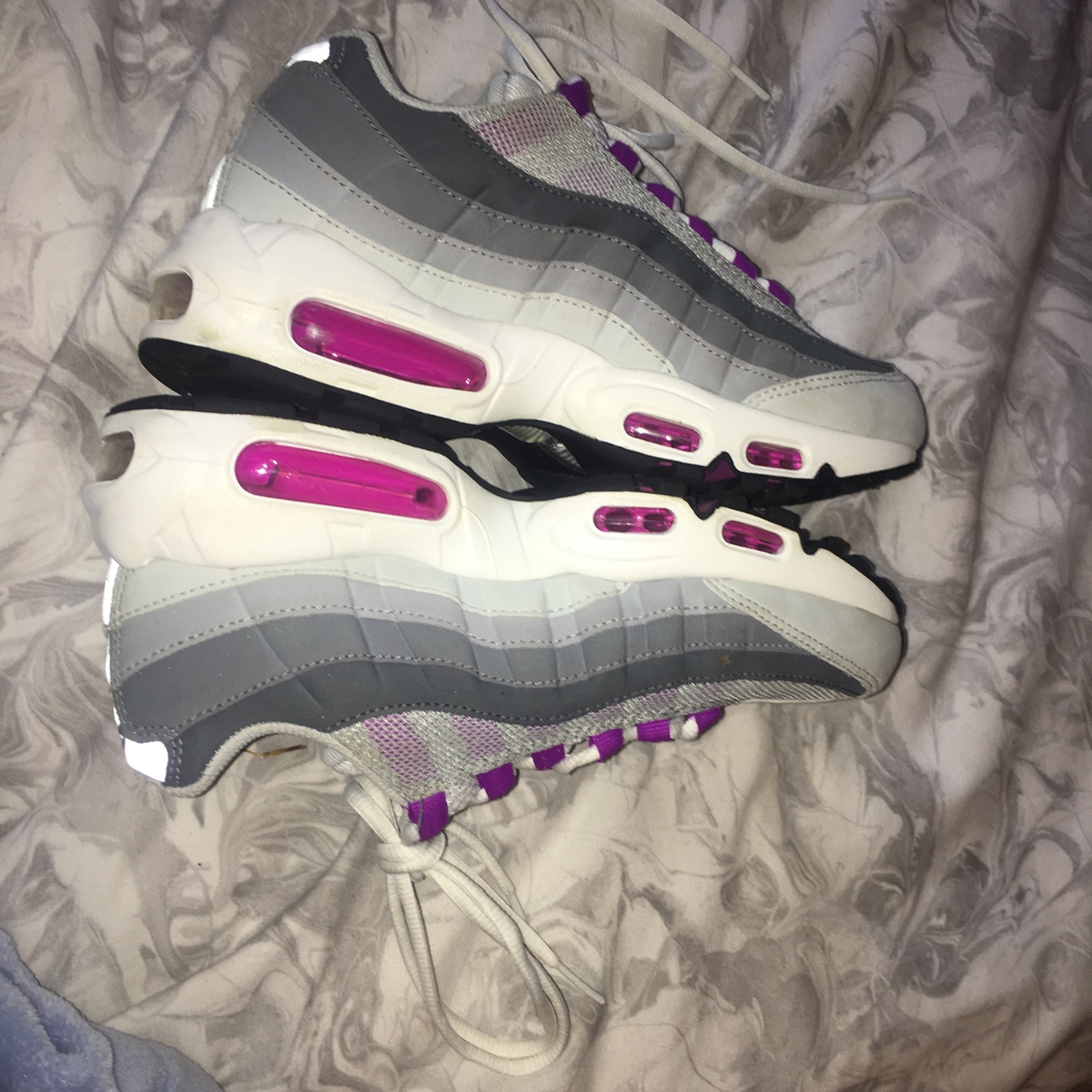 "Nike Air max 95's Size 5 Listed as ""Pure Platinum Depop"