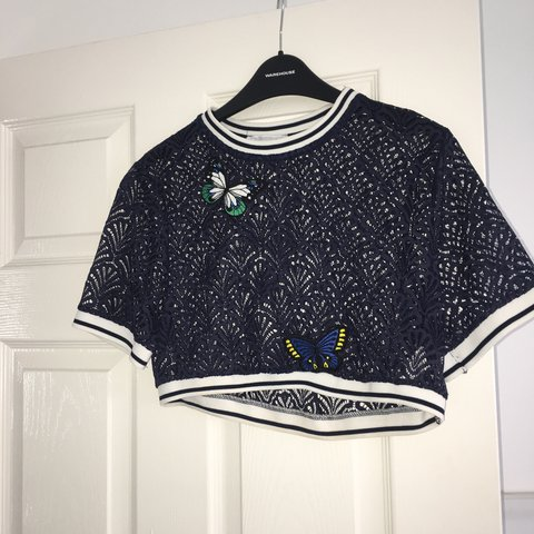 8034f835 navy Zara trf top with patches Size S Worn once!! - Depop