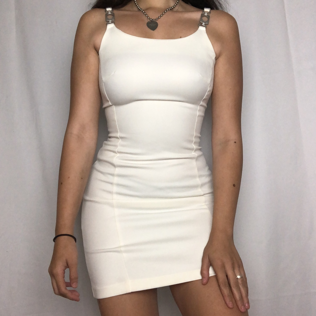 90s Punk Angel Bodycon Dress  Super Hot All White by Depop