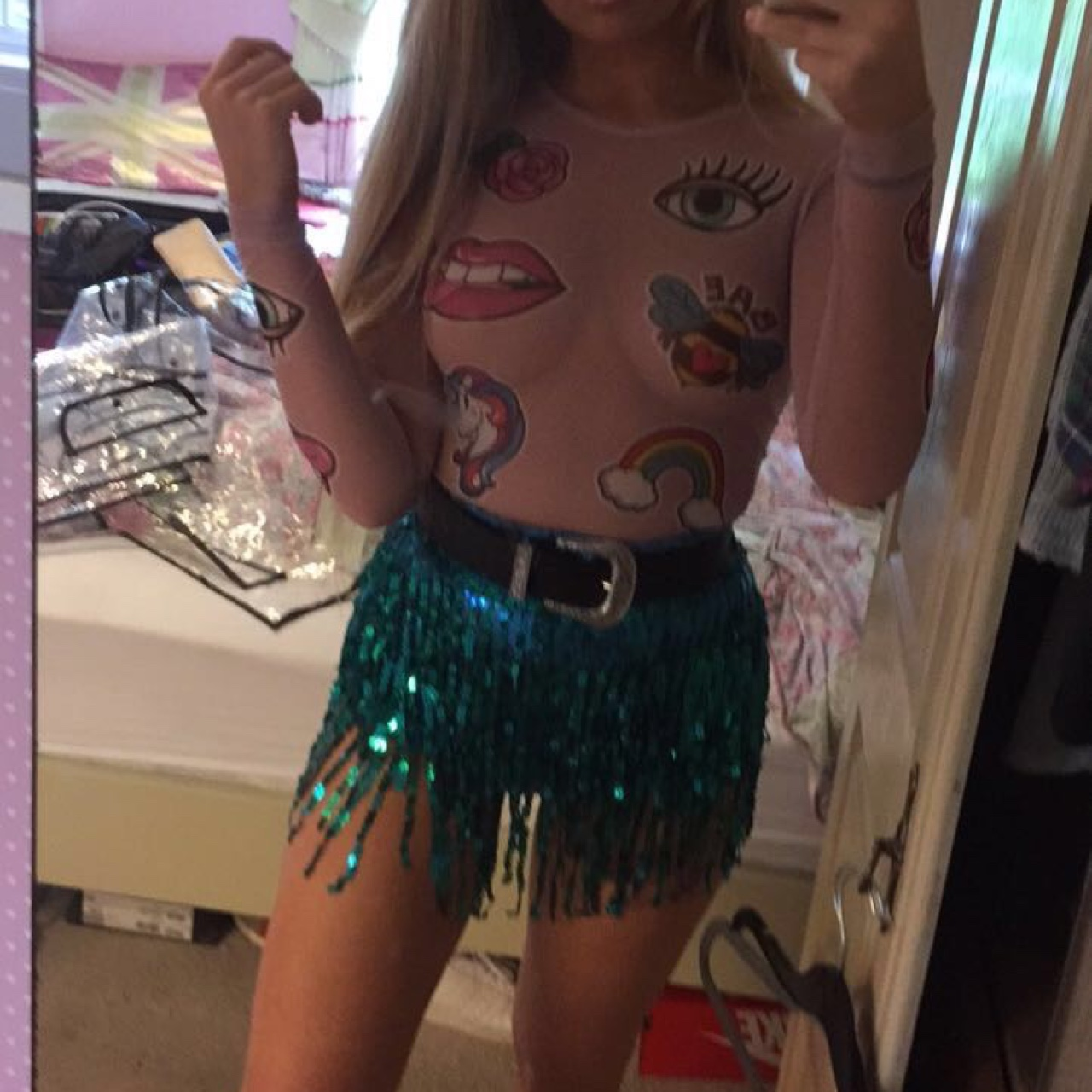 8 Teens Xx elsie and fred blue la bamba shorts worn once for a - depop