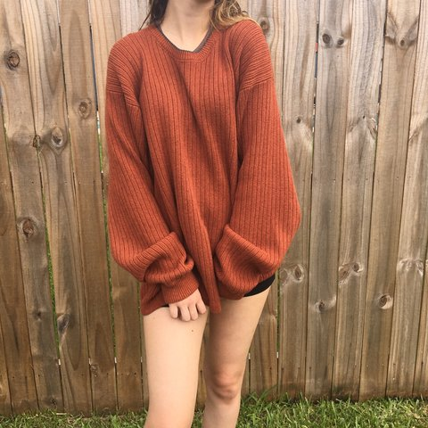 American Eagle burnt orange ish rust colored sweater that s - Depop ea77d6e3b