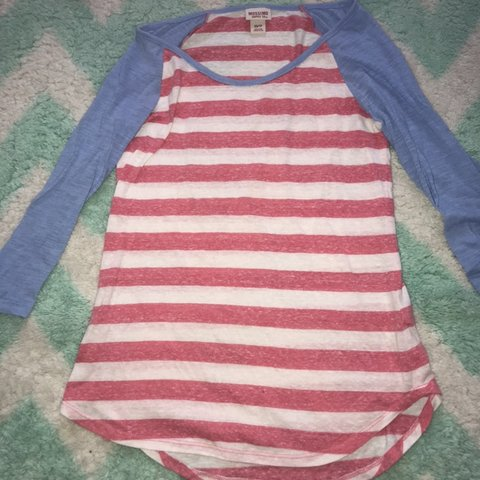 f72af0c34b7 3 4 sleeve mossimo tee. Coral white stripes with periwinkle - Depop