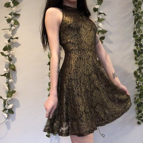 395e0a2151 Black and gold lace mock neck dress