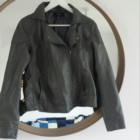 6a10f27b6e5 Grey leather look jacket size M medium from Forever 21 . I a - Depop