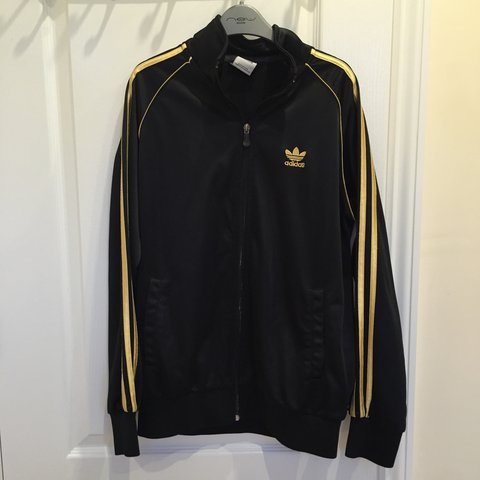 online store 2090e f2add  ychoi79. 2 years ago. Peterborough, UK. Adidas tracksuit jacket in black  and gold ...