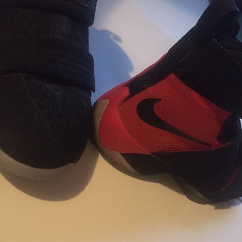 3eac889e026 Black and Red size 5.5 kids Nike LeBron Soldier tens. Like - Depop
