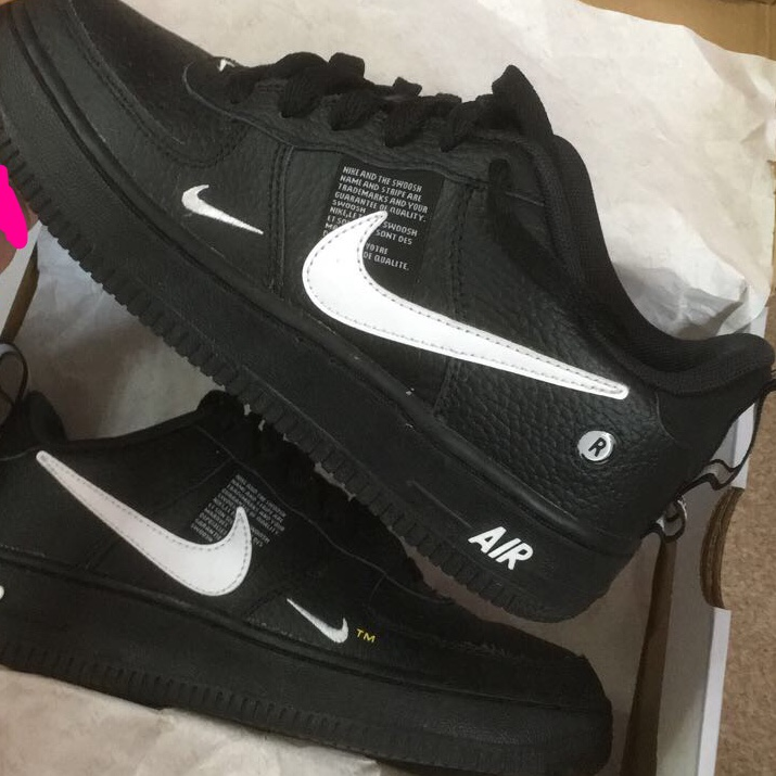 Air Force 1 low utility white black trainers Depop