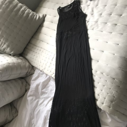772bf3df8d5d Black maxi dress. Jersey material with mesh panels. Worn on - Depop