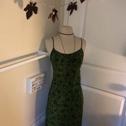 17777506 super good deal- vintage green floral and flowy dress from a - Depop