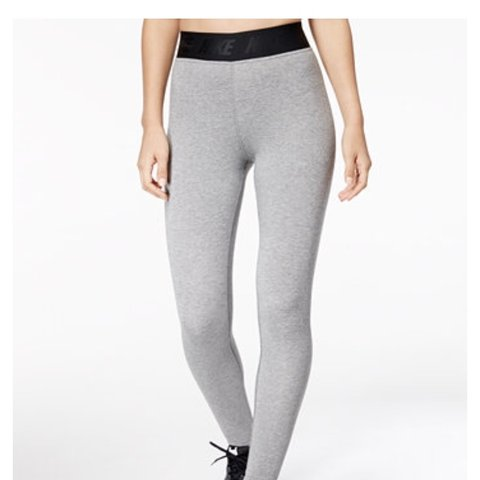 a20f3310736a27 grey nike leg-a-see leggings with nike logo and black waist - Depop