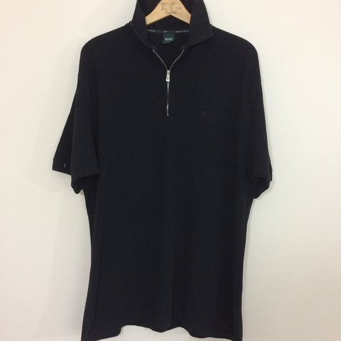 10ed03ee8 Vintage Hugo boss 1/4 zip black with logo polo shirt large - Depop