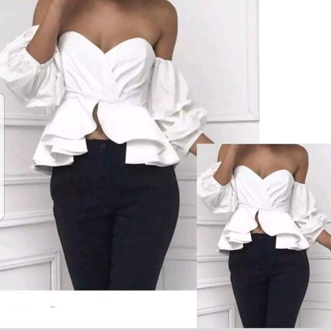 a1c1e6ec55d54 White BNWT bardot off the shoulder frill sleeve top size 8 - Depop