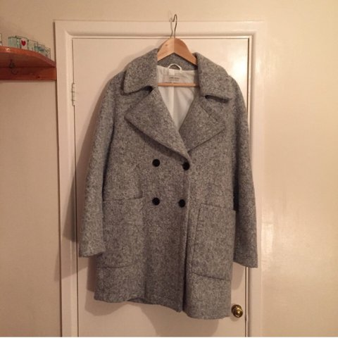 6ae54444710b DRY CLEANED FOR SALE Zara Grey Crossover Wool Coat. Double a - Depop