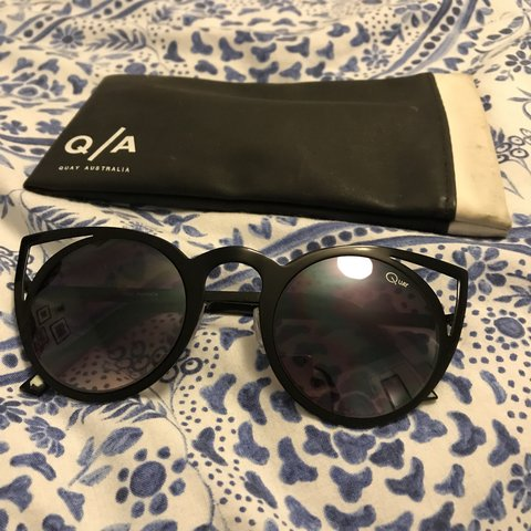 4ab11af32d995 Quay Australia black cut-out cat eye sunglasses With Quay - Depop