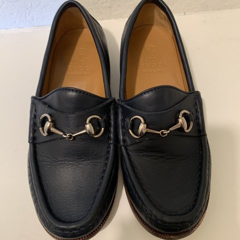 40aa99cdddaa33 GUCCI -Navy Loafers for boys, still in good condition size - Depop