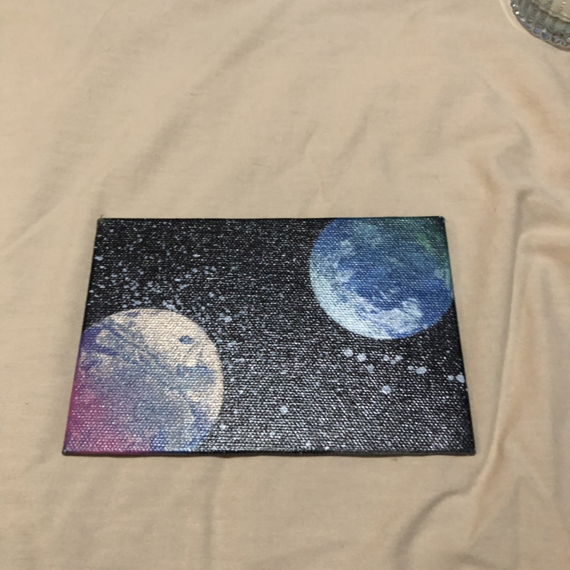 Galaxy Spray Paint Art With Earth Colors Blue Depop