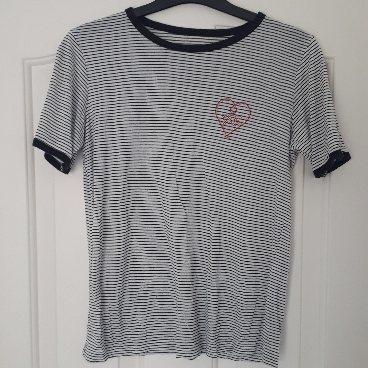Vans T shirt black and white stripe with pink logo. Depop