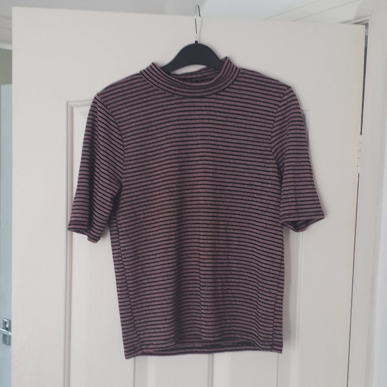 Zara striped low turtle neck shirt with half length Depop