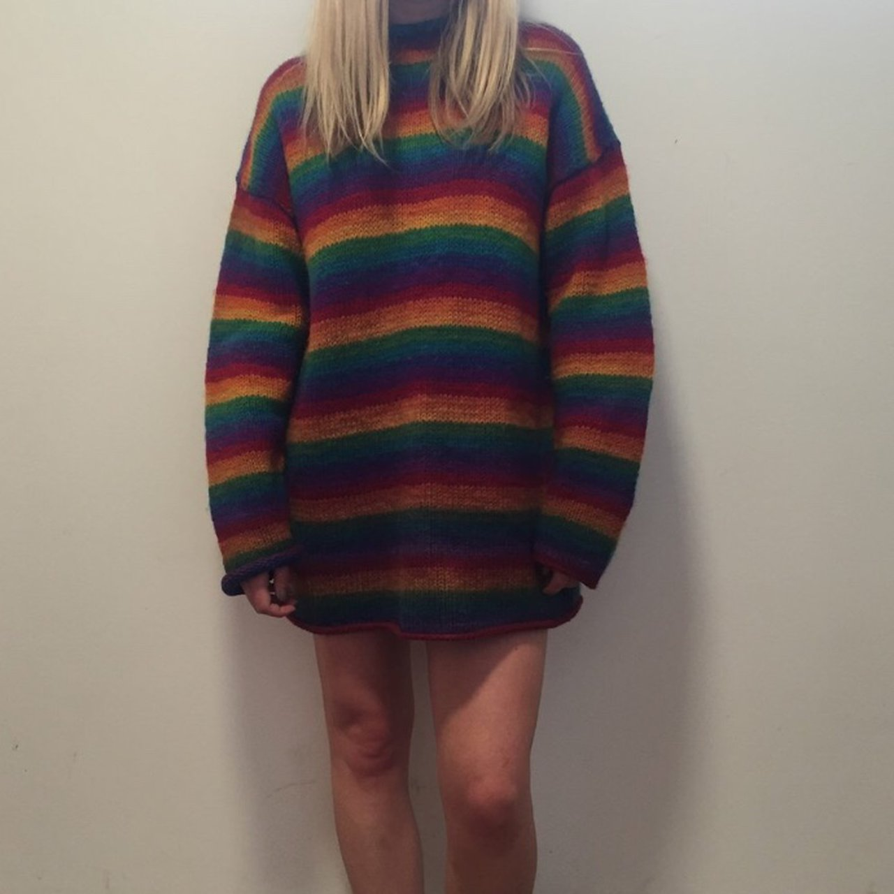 9d1e35e0a4 Amazing vintage rainbow stripe multicoloured 100% wool Looks - Depop