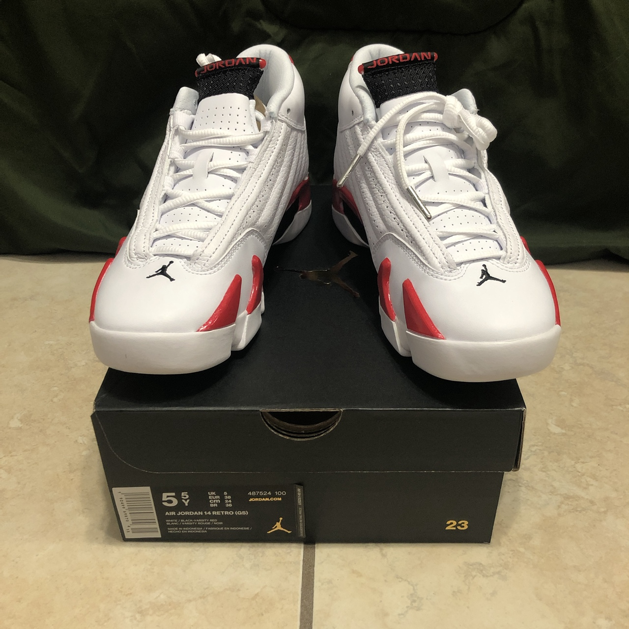various colors 86597 7f3b4 Jordan 14 Candy Cane DS Boys size 5.5 women's 7 DM... - Depop