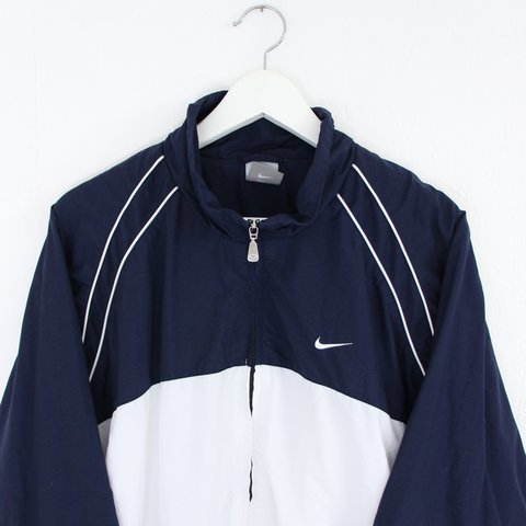 a2bc9e2e8e Vintage retro 90s two tone dark navy   white Nike jacket • L - Depop