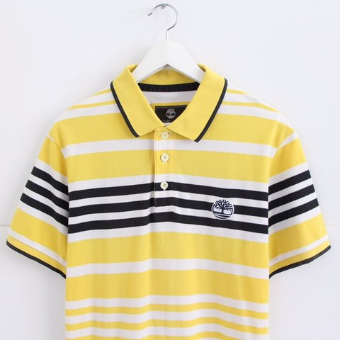 e9cb9a35 @nostalgia_ultra. 2 months ago. United Kingdom. Vintage retro 90s yellow black  white striped Timberland polo shirt • Men's ...