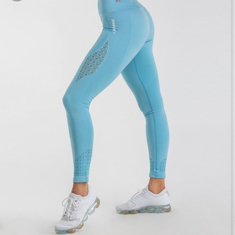 1aa916cb192220 @wurmhat. 5 months ago. United Kingdom. Gymshark energy seamless sky blue high  waisted leggings.