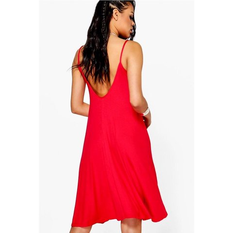 8cc61a425f86 @megthrifts. 10 days ago. Raleigh, United States. Boohoo Red Spaghetti  Strap Knee Length Summer Dress Very big ...