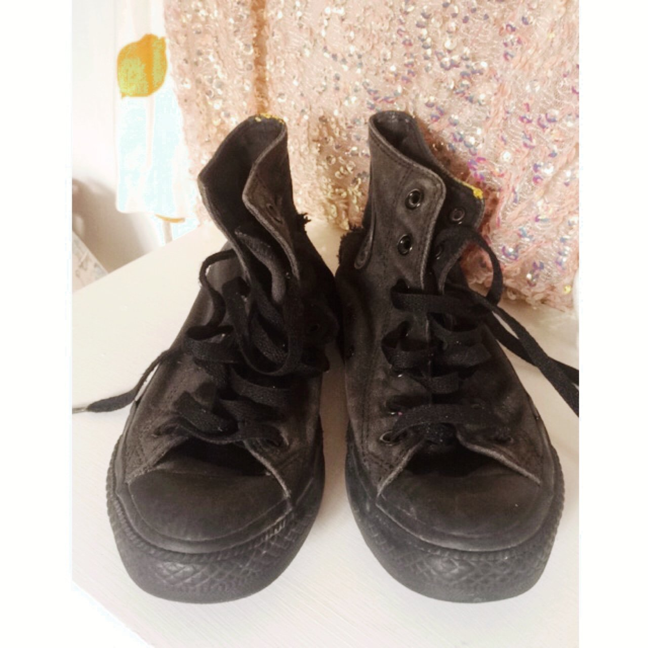 69f241b3c971 PRICE DROP. Originally £20 now £10!! Black high top converse - Depop