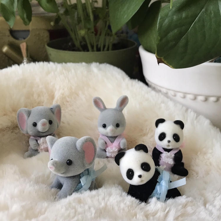 (ON HOLD) Five Calico Critter babies- one rabbit,    - Depop
