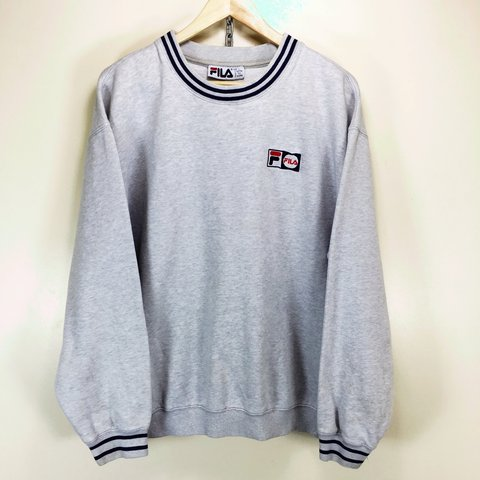 0c4e3985c43 Vintage Fila sweatshirt. Grey colourway. Good condition. on - Depop